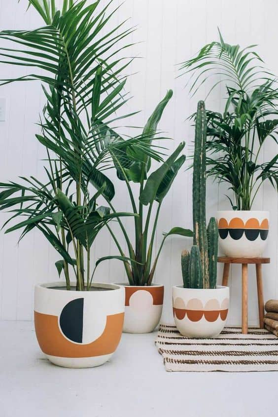 Use the same style and color palette for several pots