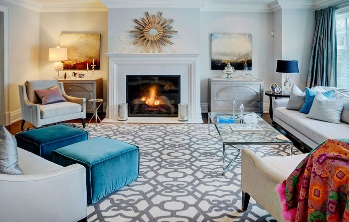 how to decorate with a patterned rug