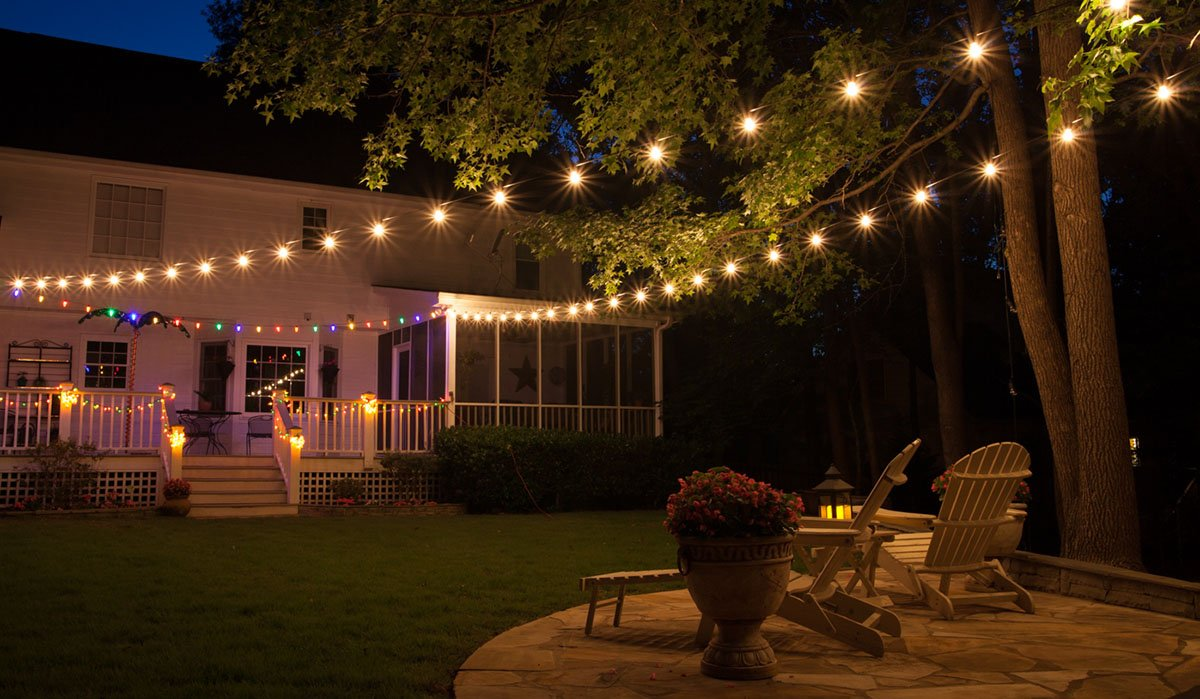 how to hang outdoor string lights on garden